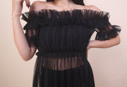 'TINA' Ruffle Mesh Cover Up Dress