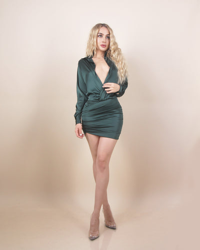 'EMMY' Low V Detailed | Collard Detailed | Satin/Silky | Long Sleeve Mini Evening Dress