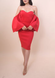 'DARLING' Off Shoulder Dress - Red