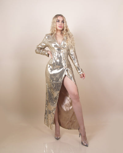 'DVENA' Slit Detailed | Sequin Shiny Detailed Long Sleeve | Gold Buttoned Detailed Evening Dress