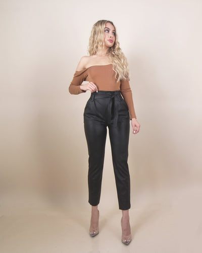 'CAMY' High Waisted | Belt Detailed | Ankle Cut | Leather Dressy Pants