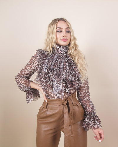 'ZINA' Cheetah Print | Long Sleeve Ruffle Detailed | Fancy Turtle Neck Top/ Blouse
