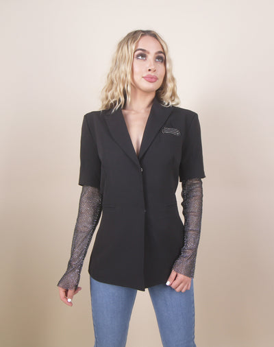 'AMY' Rhinestone Arms Detailed | Black Outwear Dressy Blazer