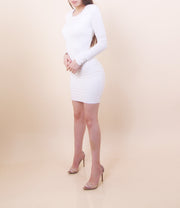 'MELISSA' Padded Shoulder Dress- White