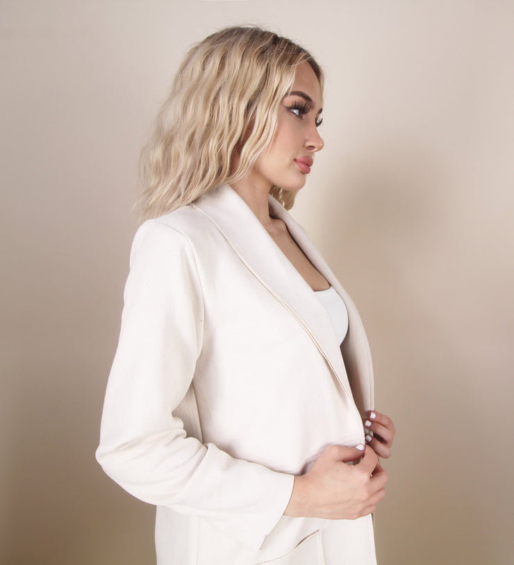 'RINA' Cream Long Sleeve | Pocket Detailed | Padded Shoulders Detailed | Blazer/Jacket