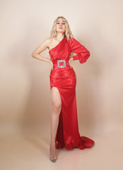 'THE LADY IN RED' Satin/Silky | Slit Detailed | Belted Detailed | One Shoulder Maxi Evening Dress