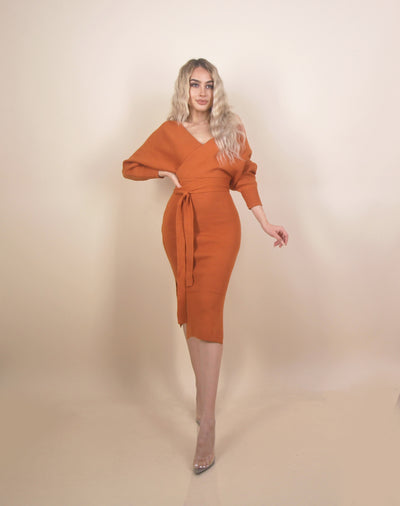 'MARYANNE' Long Sleeve | Slit Detailed | Off Shoulder Styled | Maxi Knit Dress