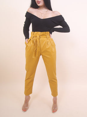 'CAMY' Leather Pants- Mustard