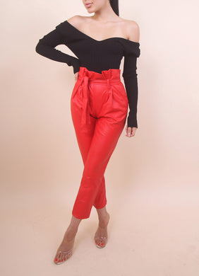 'CAMY' Red Leather Pants