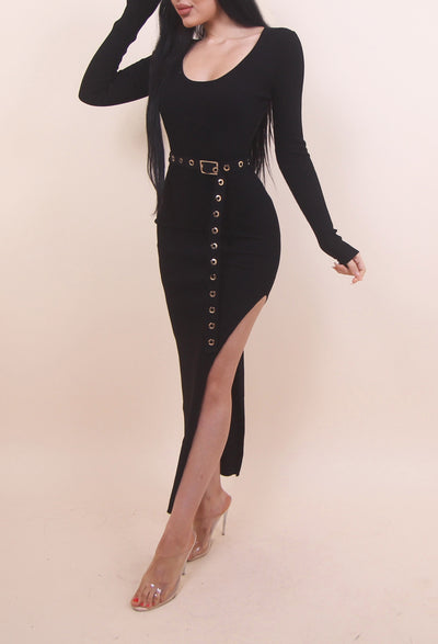 'ARSI' Belted Slit Long Sleeve Maxi Dress