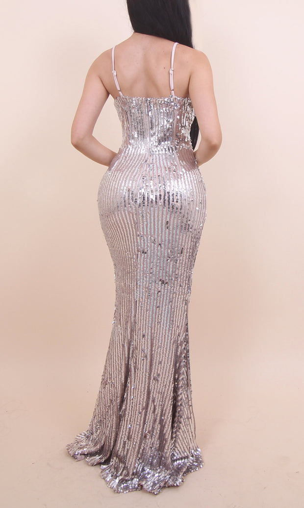 'MISSY' Silver Sequin Dress