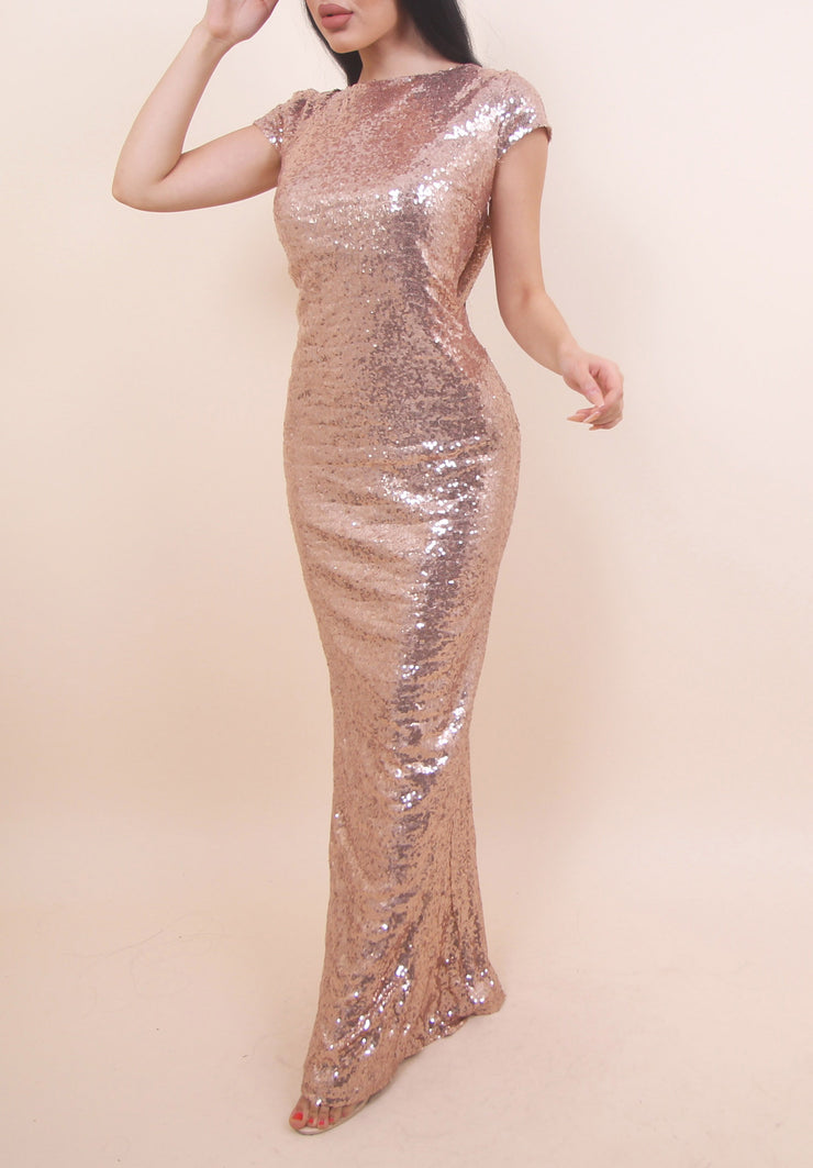 'STACY' Rose Gold Sequin Dress