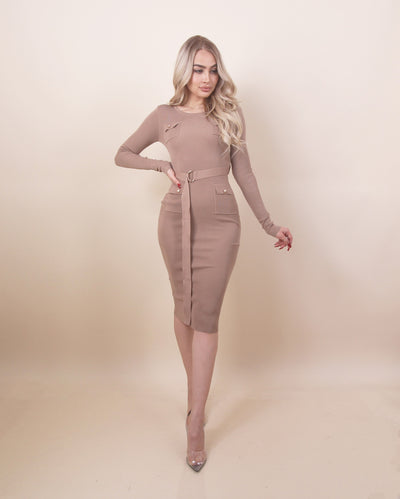'KATRINA' Long Sleeve | Gold Detailed | Belted Detailed Maxi Evening Dress