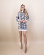 'ANDREA' Snake Print Detailed | Long Sleeve | Turtle Neck Detailed | Midi Dress