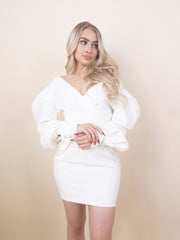 'ALINA' Off Shoulder Detailed | Button Sleeve Detailed | Puff Arms Detailed | Midi Evening Dress