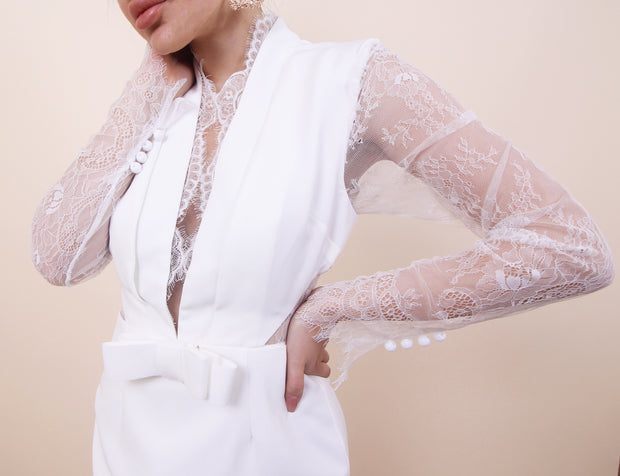 'Jadore' Lace and Mesh Detail Midi Fitted Plunging Neck Long Sleeve Dress