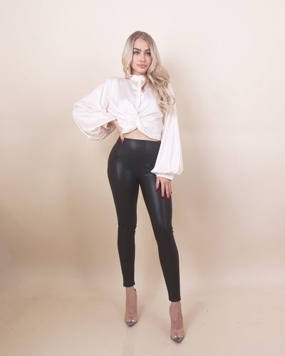 'NIKI' Skin Tight | Leather | Slim Fit | High Waisted | Ankle Cut Black Leggings