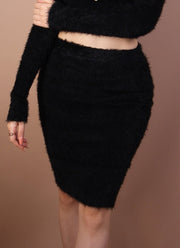 Black 'MICHELLE' Fuzzy Skirt