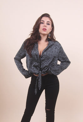 'ELLIE' Satin Buttoned Top