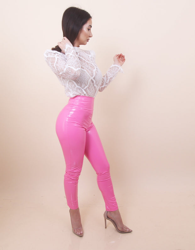 'PRETTY IN PINK' Latex Leggings