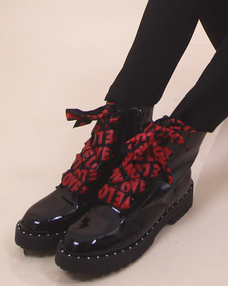 'LOVE' Lace Up Boots