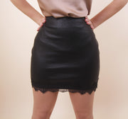 'TENY' Leather X Lace Skirt