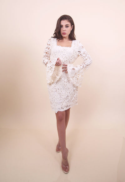 'DINA' Floral Bell Sleeve Crochet Midi Dress