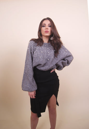 'MELA' Pearl Top - Dark Grey
