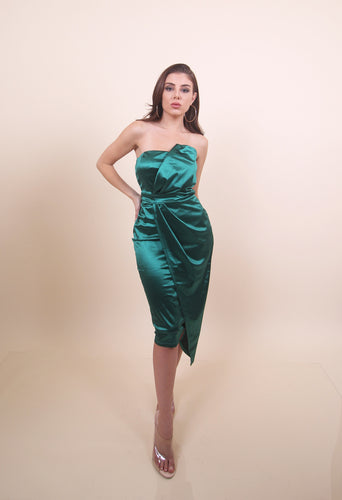 'PEDRA' Satin Tube Top Wrap Asymmetric Detailed Midi Dress - Hunter Green
