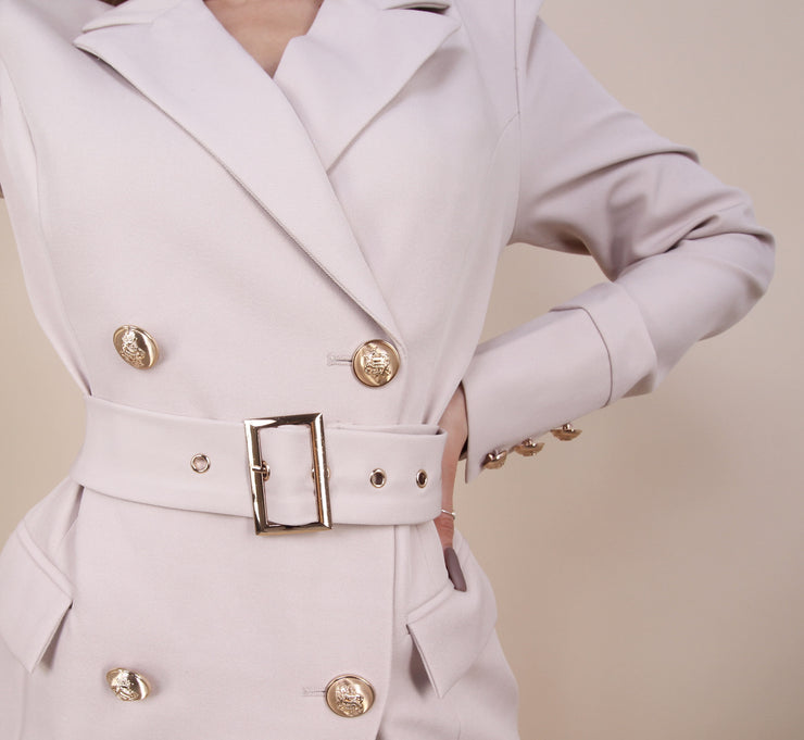 'MORGAN' Gold Button Detailed Blazer | Belted Detail