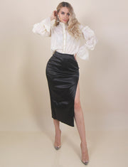 'DOLLY' Side Slit Detailed Midi Skirt | Satin/Silky Detailed