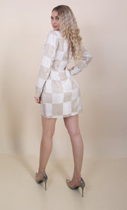 'GOLD CHECKERED' Gold Button Midi Blazer Dress