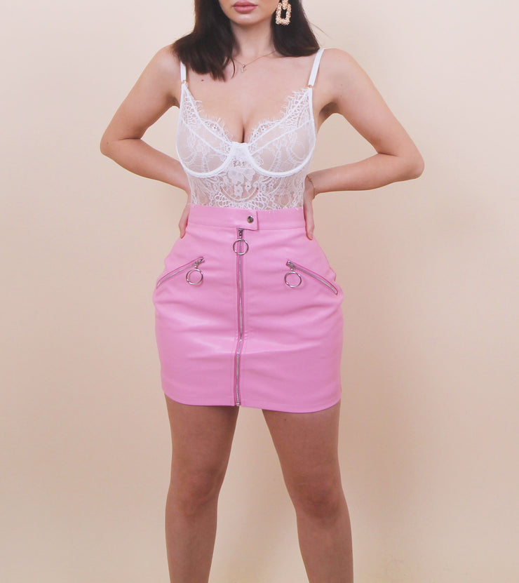 'BABY PINK' Leather Skirt