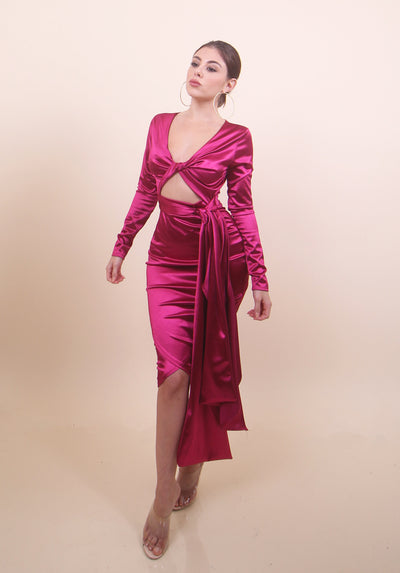 'KYLIE' Satin Pink Dress