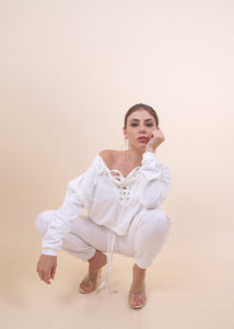 'TINA' White Sweat Set
