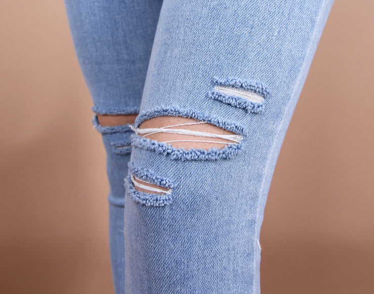 'LISA' Light Washed Distressed Denim