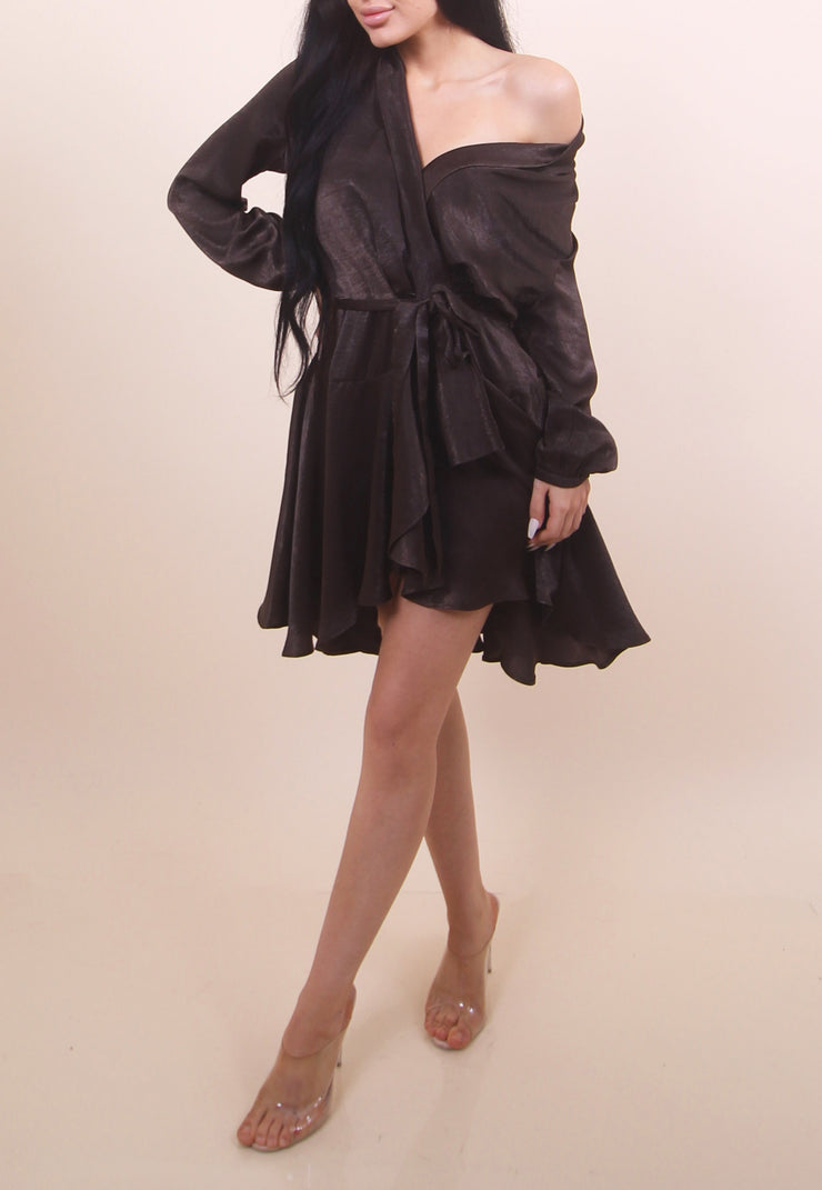 'GLORIA' Satin Wrap Dress