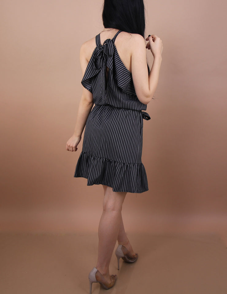 'CLAYA' Grey Striped Dress