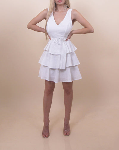 'COTTON CANDY' Ruffled Detailed Belted Mini Dress