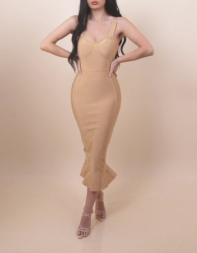 'BIANCA' Ruffled Bottom Bustier Detailed Maxi Bandage Dress
