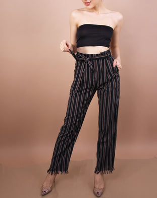 Black - 'JANE' Striped Pants