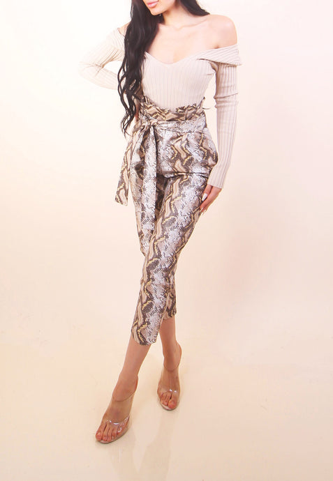 'CIARA' Leather Snake Print Pants