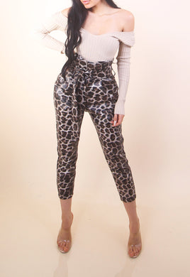 'CIARA' Leather Cheetah Pants