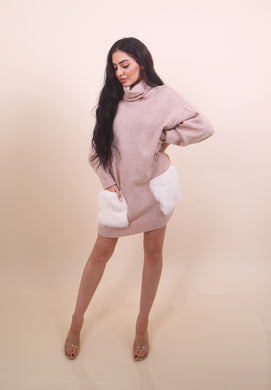'PUFF Pockets' Sweater Dress- Nude