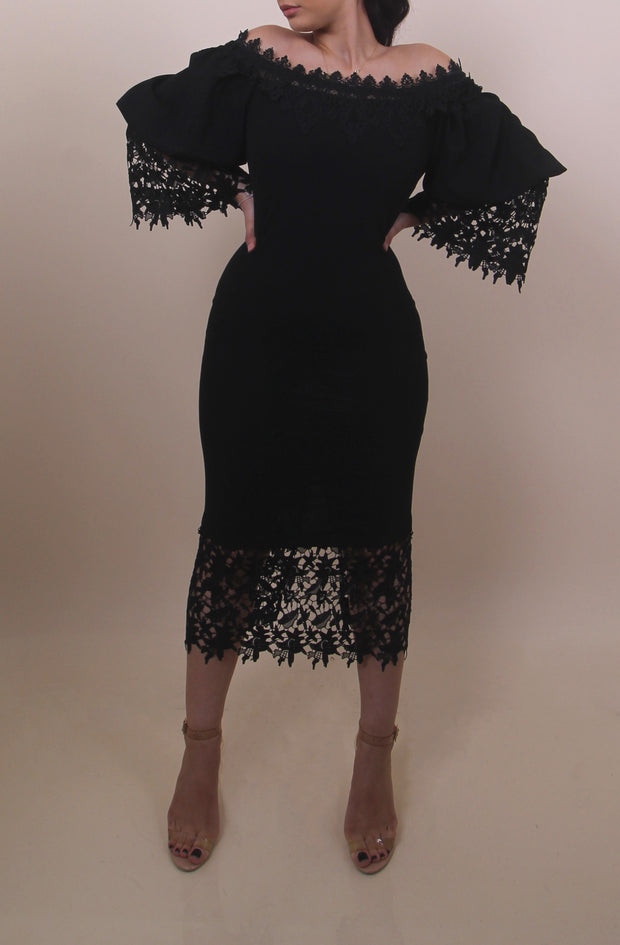 'LETICIA'  Black Lace Dress