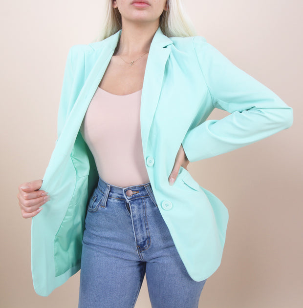 'KOKO' Button Detailed | Padded Shoulders Blazer
