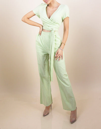 'AMILI' Laced Adjustable Light Green Jumpsuit