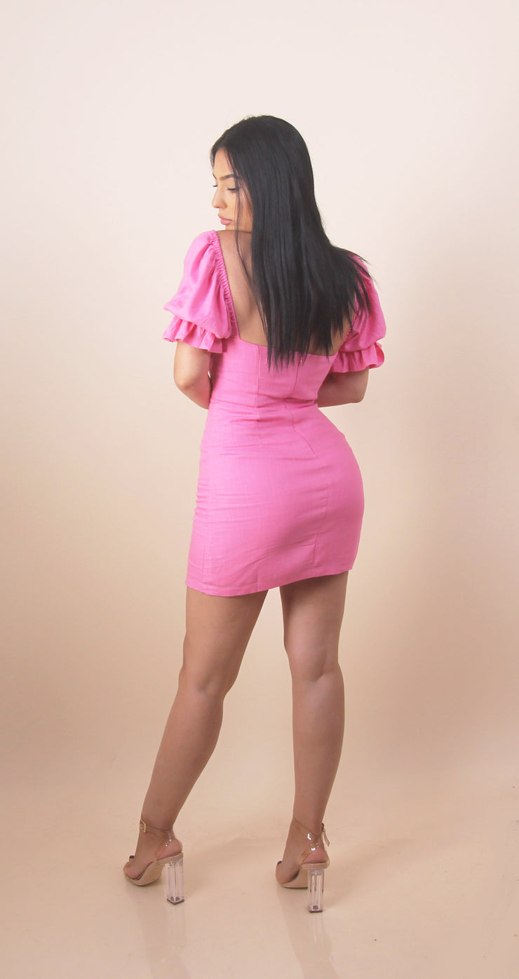 'ABRIELLE' Hot Pink Summer Mini Dress