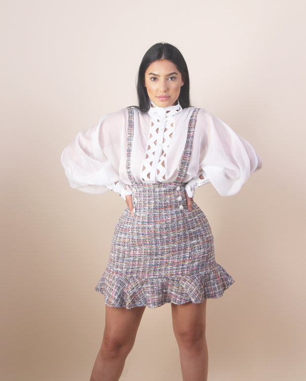 'GINA' Tweed Overall Midi Skirt
