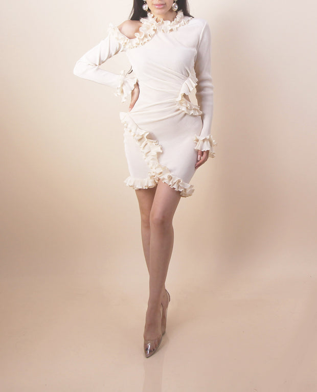 'SOPHIA' Ruffle Side Open Long Sleeve Dress